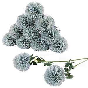 Artificial Flowers Large Chrysanthemum Ball Silk Hydrangea Flowers Bouquet Single Stem 10pcs for Home Party Wedding Bridal Centerpieces Arrangements Garden Decor (Blue)