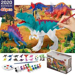 VATOS 42 PCS Dinosaur Painting Kit and Dinosaur Toys for Kids,Arts and Crafts for Kids,Paint Your Own Dinosaur DIY Set,Best Dinosaur Toys for Kids 3 4 5 6 7 8