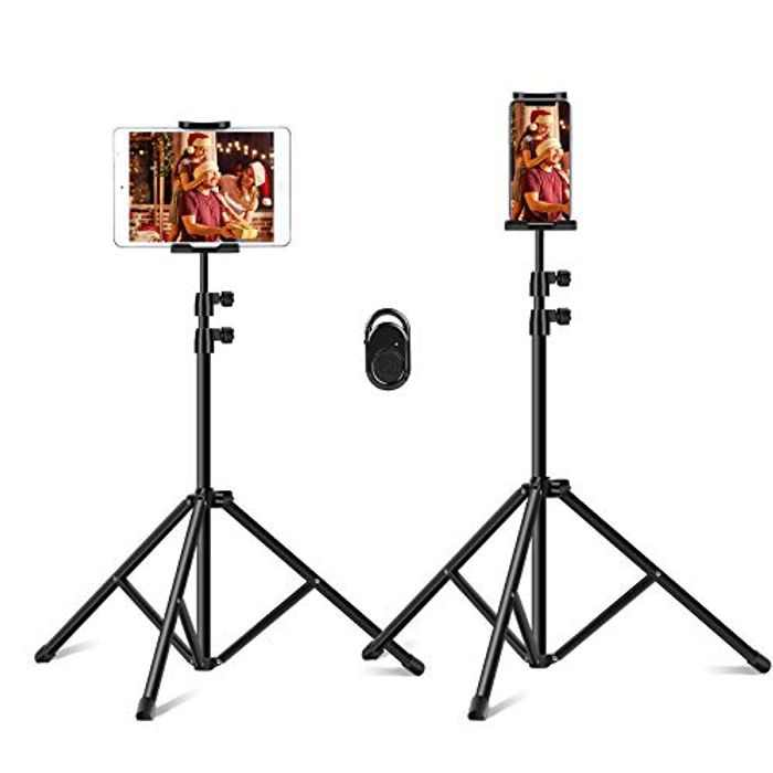 Vsport Tripod Stand for Phone/Tablet PC, Tablet Floor Mount Portable Height Adjustable 20 to 50 Inch 360 Degree Rotating for All 4-12 inch Phone and Tablets, Suit for Indoor & Outdoor