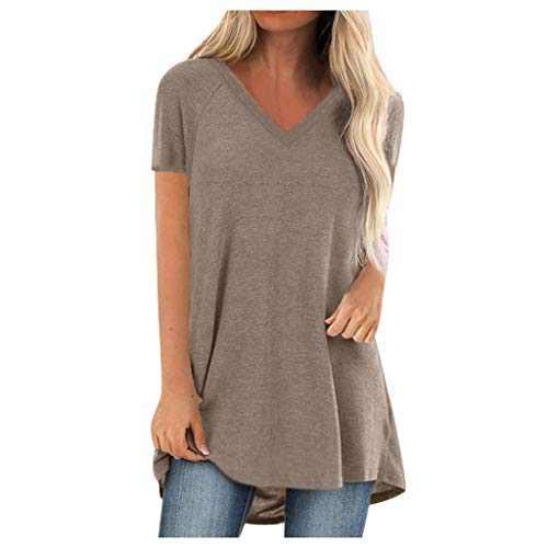GLIGLITTR Short Sleeve Tunics for Women Leggings V Neck Solid T Shirt Summer Tops Blouse Loose Casual Tee Plus Size (Khaki, Medium)