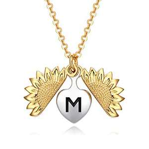 KUTOLAKI Locket Necklace for Women, Heart Personalized Letter Pendant with Chain for Girls, Dainty Sunflower Necklace for Mom Gift, Gold Plated Initial Necklace
