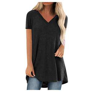 GLIGLITTR Short Sleeve Tunics for Women Leggings V Neck Solid T Shirt Summer Tops Blouse Loose Casual Tee Plus Size (Black, Medium)