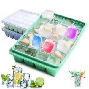 Stackable Silicone Ice Cube Trays with Lid Covers, BPA Free Ice Tray,Food Grade Flexible Large Square Ice Cube Molds For Bourbon Whiskey (2PC,Green+Blue,50pc Straws)