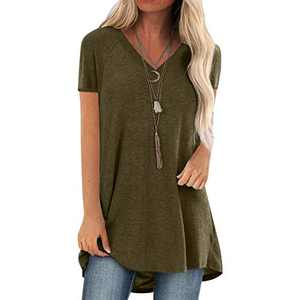 Short Sleeve Tunics for Women Leggings V Neck Solid T Shirt Summer Tops Blouse Loose Casual Tee Plus Size (Green, Small)