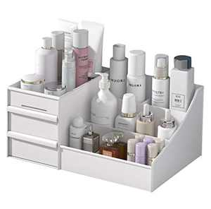 Makeup Organizer With Drawers — Countertop Organizer for Cosmetics, Vanity Holder for Lipstick, Brushes, Lotions, Eyeshadow, Nail Polish and Jewelry (White)