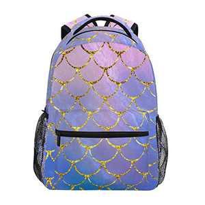 School College Backpack Rucksack Travel Bookbag Outdoor Animals (Mermaid Scale)