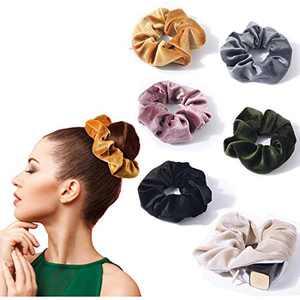 Oaoleer Velvet Scrunchies With Pocket,Velvet Scrunchy Elastic Hair Bands for Girls, Women Hair Accessories (Dark)