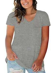 Womens Plus Size Tops V Neck Short Sleeve Tunic Shirts Casual T-Shirt Blouse Light Gray