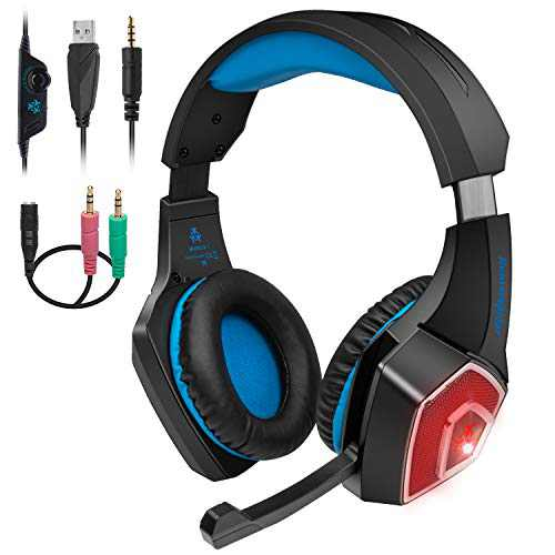 Wired Stereo Gaming Headset with mic - for PS4 Xbox One Headset with Noise Reduction Microphone & LED Light - Over-Ear Gaming Headphones with Soft Memory Earmuffs for PC, Mac, Laptop, Nintendo Switch