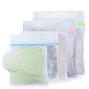 PINKSHOW Reusable Large Mesh Laundry Bag,Set of 5 Lingerie Wash Bags with Upgraded Zipper Protector for Delicates, Shirt, Socks, Coats, Bed Sheet, Bra Wash Laundry Bags for Travel Storage (3 Sizes)