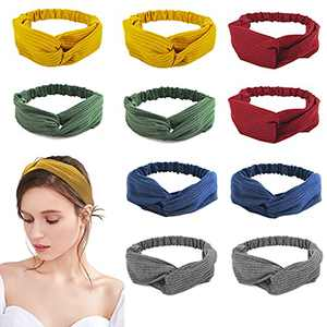 10 Pack Twist Headbands for Women Solid Color Fashion Stretchy Turban Hair Bands Headwraps Criss Cross