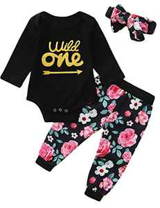 Truly One 3PCS One Year Old Birthday Outfit Set Baby Girls 1st Birthday Floral Tops + Pants + Headband (Black-Long Sleeve,18-24 Months)