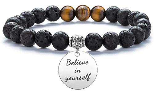 Hamoery Graduation Gifts for Her Him 15mm Anxiety Bead Bracelets Lava Rock Essential Oil Diffuser Yoga Bracelet