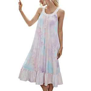 Twotwowin Lounger House Dress Tie Dye Printed Soft Nightgown Women Sleepwear (Tie Dye Printed - Pink, Small)