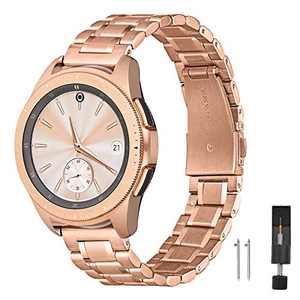 ZXCASD Metal Strap Compatible for Samsung Galaxy Watch 3 45mm,Solid Stainless Steel Metal Replacement Wristband for Samsung Galaxy 46mm & Gear S3 Frontier/Classic (Rose gold, 46mm(22))
