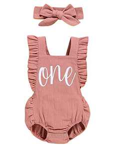 Baby Girls Summer Outfit Set Toddler 1st Birthday Cute Bodysuit with Headband (Pink-Backless,6-12 Months)