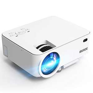 IBERDE Mini Projector, 1080P Supported Portable Projector with 50000 Hours Lamp Life, LED Video Projector Compatible with TV Stick, PS4, HDMI, VGA,AV and USB for Home Entertainment