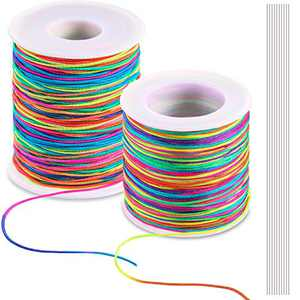 100M Colorful Elastic Cord Stretchy Beading Cord and 100M Colorful Bracelet Drawstring Nylon Beading Rope with 10 Pieces Lead Needles for Jewelry Making and Crafts