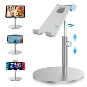 Ikeepi Phone Stand Adjustable Height & Angle for Desk with Charging Dock, Phone Holder Compatible with iPhone 11 Pro Xs Max XR X 8 7 6 6s Plus, Samsung S20 Ultra and Other Mobile Phones (Sliver)