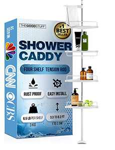 Standing Shower Caddy Tension Pole: Keep your Shower Organized and Tidy with a Tension Shower Caddy - Shower Tension Corner Caddy - Shower Storage Tension Pole Shower Caddy