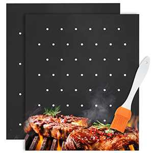 Grill Mats for Outdoor Grill Nonstick Set of 2 Heavy Duty 600 Degree, BBQ Grill Mats Non Stick with Holes Smokey Flavor, Reusable Grill Mats Easy to Clean Dishwasher Safe & Oil Brushe(THICKEST 0.4mm)