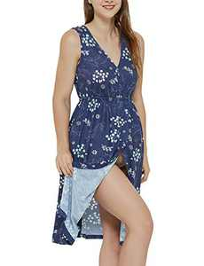 3 in 1 Nursing Gown Labor delivery Hospital Maternity Nightgown Vneck Dress for Breastfeeding Floral Blue Leaf M