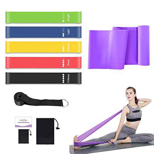 Exercise Resistance Bands Set for Legs and Butt, Fitness Long Elastic Stretch Bands, 5 Loop Resistance Bands Glute Hip Bands for Home Workout, Yoga, Physical Therapy, Rehab, Stretching, Pilates
