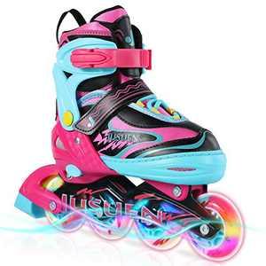 JUSUEN Inline Skates Adjustable for Kids, Roller Blades/ Skates Boys and Girls,Light Up Roller Blading for Youth Ages Blue Pink -Pink Medium(2-5US)