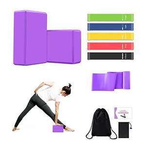 MIZIKUSON Yoga Blocks 2 Pack with Strap, 5 Workout Resistance Bands, 1 Elastic Long Yoga Straps, High-Density EVA Foam Yoga Block with Gym Bag & Yoga Instruction Book for Fitness, Pilates, Stretching