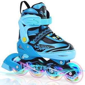 JUSUEN Inline Skates Adjustable for Kids, Roller Blades/ Skates Boys and Girls,Light Up Roller Blading for Youth Ages Blue Pink -Blue Large(5-8US)