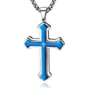 OLEVS Blue Mens Cross Pendant Necklace Large Stainless Steel Cross Pendant Necklace for Men