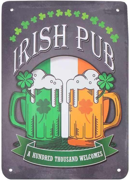 Vosarea Irish Tin Sign Beer Irish Pub Metal Poster Retro Vintage Ireland Wall Art Pub Bar Decor Tavern Coffee Cafe BBQ Garage