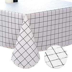 DITAO Vinyl Tablecloth for Square Table Waterproof White Checkered Polyester Dining Table Picnic Cover, 60 x 60 inch