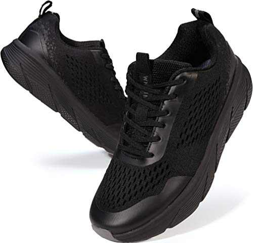 WHITIN Women's Road Running Shoes Size 6 Casual Tennis Athletic Breathable Comfortable Cushioned Long Distance Flexible Cute Mesh Light Weight Sneakers for Ladies Female All Black