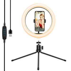 "10.2"" Ring Light with Tripod Stand&Phone Holder,Anozer Dimmable Desktop Selfie Ring Light LED Camera Ringlight for Live Stream/YouTube/Vlog/TikTok/Zoom, Compatible with iPhone&Android"