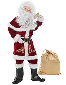 Halfjuly Santa Costume for Kids 12pcs Set Christmas Party Santa Claus Suit for Boys Red Deluxe Velvet Child Cosplay L