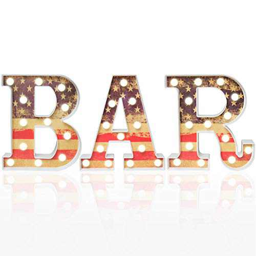 Pooqla Marquee Bar Letter Light Warm White LED Bar Sign Vintage American Flag Painted Decorative Light for Business Home Decor