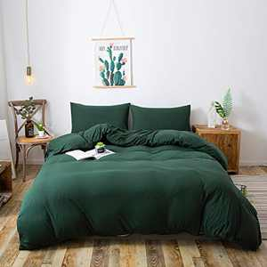 Household Jersey Cotton Duvet Cover Luxury Ultra Soft and Easy Care,Simple Style Bedding Set 1PC (only Duvet Cover Without Pillowcase), Zipper Closure (Dark Green, Queen Size)
