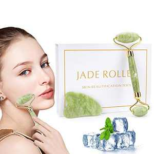 Jade Roller and Gua Sha Set,100% Natural Jade Roller for Face, Eye, Neck,Authentic Gua Sha Board and Facial Roller - Anti Aging Face Roller for Slimming,Firming & Rejuvenating Your Skin