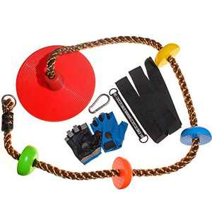YHMY Climbing Rope Disc for Kids Tree Swing with Platforms and Disc Swing Seat Set Outdoor Playground Tree Backyard Accessories Swing Outside Play Equipment with Gloves (red)