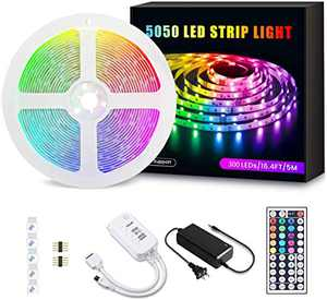 LED Strip Lights, BEACON Color Changing Rope Lights 16.4ft SMD 5050 RGB 300LEDs Light Strips with Flexible Strip Light, IP65, IR Remote Controller and 12V Power Supply for Bedroom, Decoration