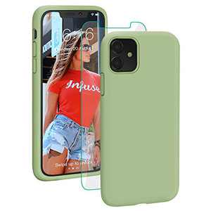 PROBIEN Liquid Silicone iPhone 11 Case with [Tempered Screen Protector] Shockproof Phone Case, Gel Rubber Full Body Drop Protection Cover for iPhone 11 6.1 inch-Matcha Green