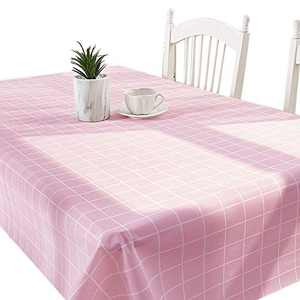 DITAO Pink Gingham Vinyl Tablecloth with Polyester Backing, Rectangle Waterproof Buffalo Plaid Checkered Table Cover for Picnic, Outdoor, Dining Room, Spring