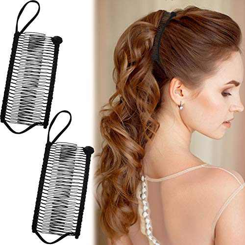 2 Pieces Banana Clip Comb Stretchy Banana Comb Hair Clips Multipurpose Hair Comb for Women Girls Thick Curly Hair (Black)
