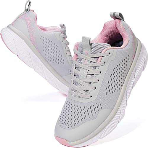 WHITIN Womens Tennis Shoes Size 7 Comfortable Fashion Lightweight Breathable Cute Mesh Walking Casual Workout Court Running Athletic Sport Sneakers for Ladies Female Gray Pink