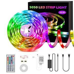 GSBLUNIE LED Strip Lights,16.4ft RGB LED Strips,SMD 5050 LED Color Changing Strip Light with 44 Keys Remote Controller,12V Power Supply,LED Rope Light for Home ,Bedroom,Kitchen,TV Backlight,Decoration