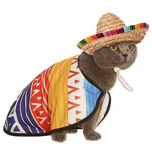Impoosy 2PCS Mexican Dog Costume Pet Serape Poncho Cloak with Multicolor Adjustable Sombrero Hat for Dogs Cats Clothes (X-Large)