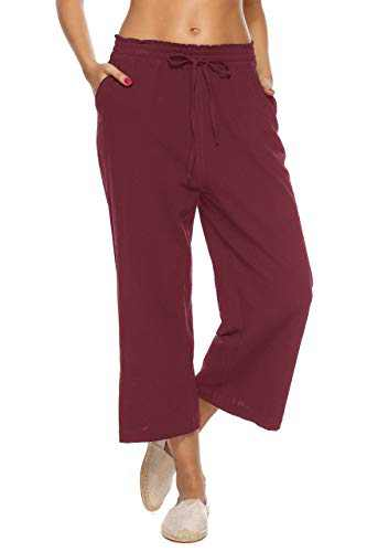LNX Womens Casual Loose Elastic Waist Cotton Trouser Cropped Wide Leg Pants Wine Red