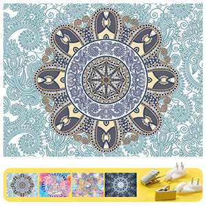 "Art Handicrafts Hippie Mandala Tapestry Wall Hanging, Tapestries Hanging for Decor Bedroom Dorm Bedspread Picnic Blanket Matching Multi Style and 3 Size (Green, L:W 78.7""×H 59.1"")"