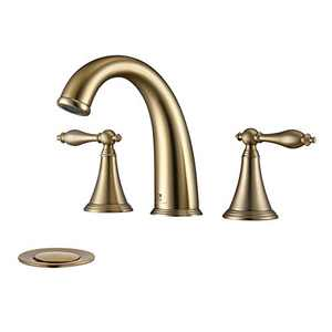 HOMELODY Widespread Bathroom Faucet Gold 8 Inch Lavatory Faucet 2 Handle 3 Hole Bathroom Sink Faucet with Pop Up Drain and Supply Hose, Brushed Gold